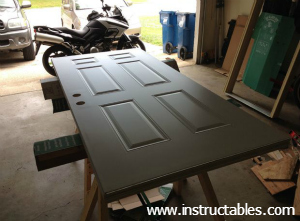 Preparing a steel door for cutting